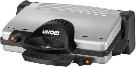 Elektromos kontaktgrill manuális hőmérséklet beállítással, nemesacél, fekete, Unold 8555