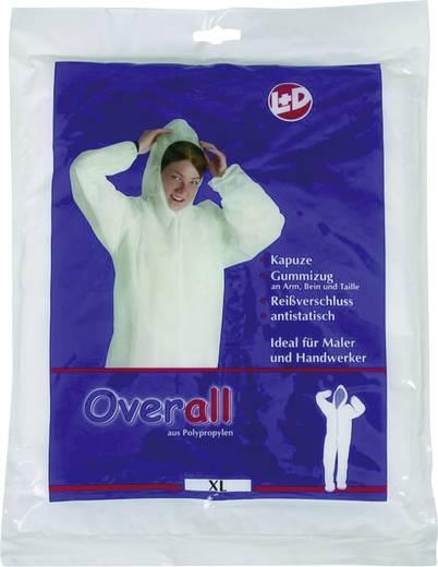 Kapucnis overall, kezeslábas munkaruha, polipropilén védőruha, fehér színű L-es méretű CleanGo 2514