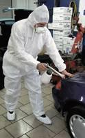 Kapucnis overall, kezeslábas munkaruha, sms polipropilén védőruha, fehér színű L-es méretű CleanGo 2515 (2515) L+D CleanGo