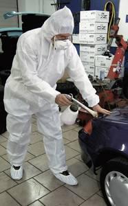 Kapucnis overall, kezeslábas munkaruha, sms polipropilén védőruha, fehér színű L-es méretű CleanGo 2515 L+D CleanGo