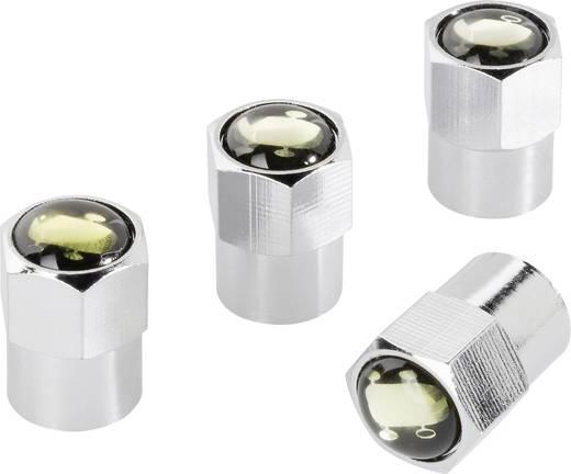 Szelepsapka készlet abroncs jelöléssel, 4 db, fekete/ezüst