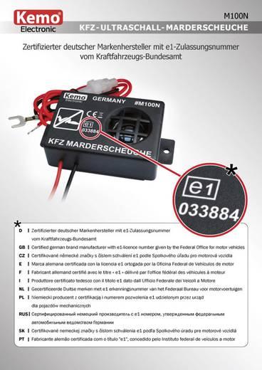 Ultrahangos nyestriasztó és menyétriasztó autóhoz, 12V, KEMO M100N