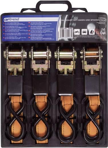 Kétrészes racsnis rögzítő heveder készlet, 4 pár, 4,5 m x 25 mm, 225/450 kg, Cartrend 70166