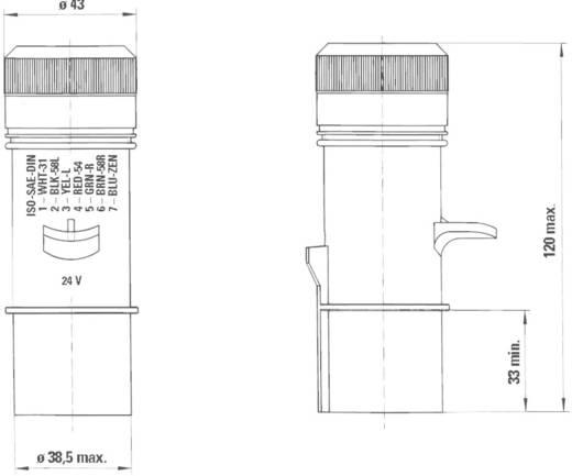 Csatlakozó dugó, 7 pólusú, 24 V, műanyag, N típus, SecoRüt 40010