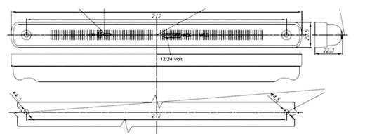 LED-es oldalsó helyzetjelző lámpa, hosszú, narancs, 12/24 V, SecoRüt 36182
