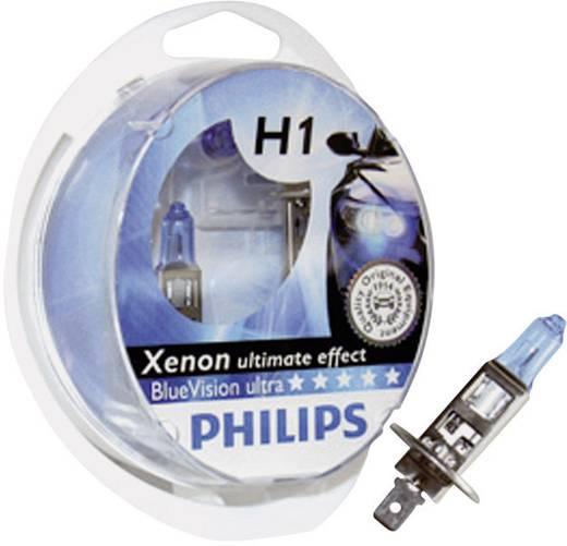 H1-es izzó pár, 12 V, Philips BlueVision Ultra P14.5s, 36062228
