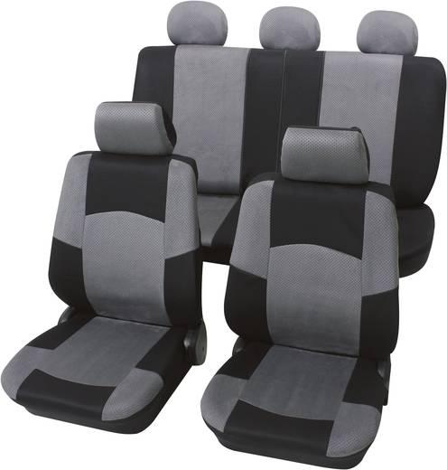 Autó üléshuzat készlet, 17 részes, fekete, szürke, egyes ülés/hátsó ülés, Petex Classic,