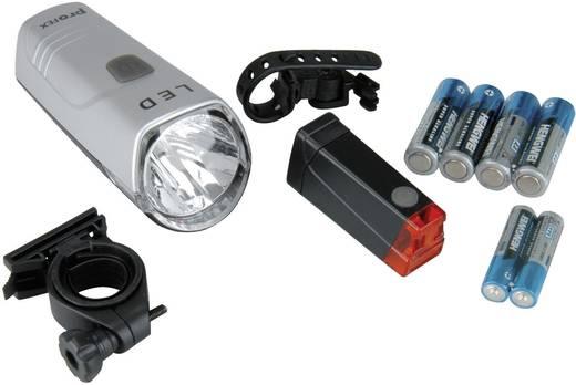 Kerékpáros lámpa készlet, LED, elemes, ezüst/fekete, proFEX 042213