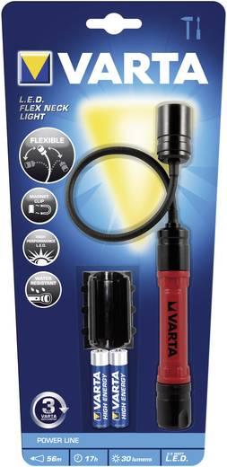 LED-es, hajlítható nyaku zseblámpa, Cool fehér LED, 17 óra, 62 g, fekete/piros, Varta Flex-Neck-Light 17646101421
