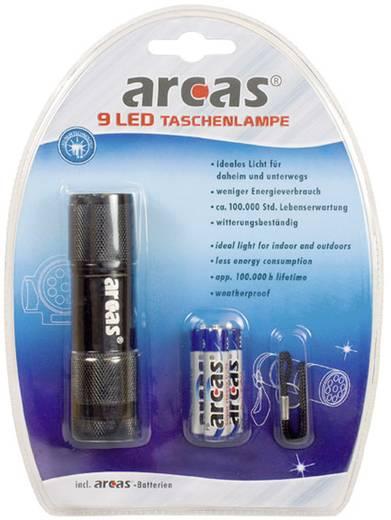 LED-es kézilámpa, 9 LED, alu, fekete, 65 g, Arcas 9LED+3XAAA
