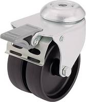 Blickle 276394 dupla terelő görgő készülékhez, 50 mm Ø, hátsó furattal, és rögzítő fékkel (276394) Blickle