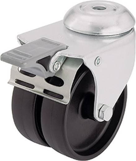 Blickle 285320 dupla terelő görgő készülékhez, 75 mm Ø, hátsó furattal, és rögzítő fékkel