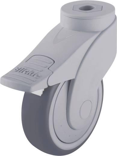 Blickle 744739 100mm-es formatervezett műanyag görgő rögzítő fékkel, WAVE, terelő görgő hátsó furattal és rögzítő fékkel