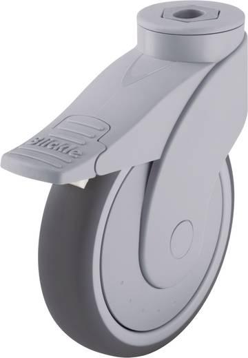 Blickle 743103 125mm-es formatervezett műanyag görgő rögzítő fékkel, WAVE, terelő görgő hátsó furattal és rögzítő fékkel