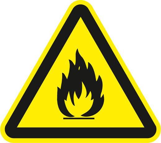 Figyelmeztető tábla, tűzveszélyes anyag, 10CM SL , fólia