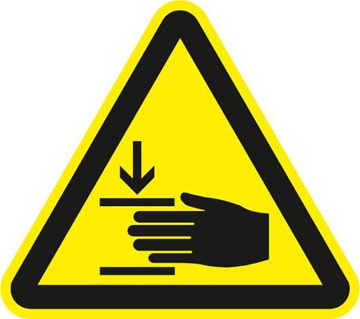 Figyelmeztető tábla, kézsérülés veszély, 20CM SL , alumínium