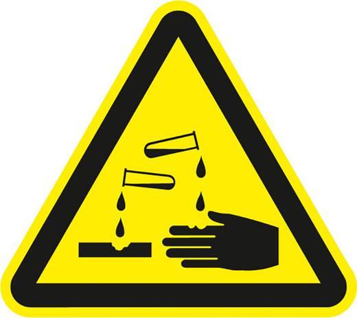 Figyelmeztető tábla,maró anyag, 20CM SL , fólia