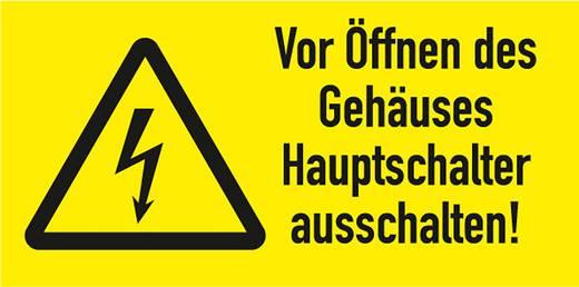 Figyelmeztető tábla, a doboz kinyitása előtt, kapcsolja le a főkapcsolót, 3,7X7,4