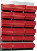 Fali csavartartó szortimenter, falra rögzíthető műanyag fiókos tároló, 18 fiókos 60 cm x 40 cm piros Küpper 13072 (13072) Küpper