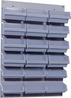 Fali csavartartó szortimenter, falra rögzíthető műanyag fiókos tároló, 18 fiókos 60 cm x 40 cm szürke Küpper 13077 Küpper