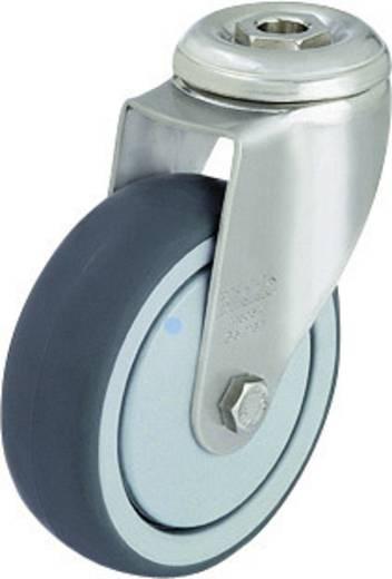 Blickle 574418 Nemesacél készülék terelő görgő hátsó furattal, Ø 100 mm, gömbcsapágy, kivitel: forgóvillás görgő