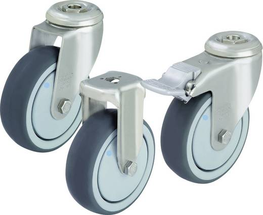 Blickle 574608 Nemesacél készülék tartó görgő hátsó furattal, Ø 125 mm, kivitel: tartó görgő - golyóscsapágy