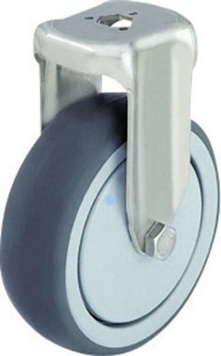 Blickle 574285 Nemesacél készülék tartó görgő hátsó furattal, Ø 80 mm, gömbcsapágy, kivitel: tartó görgő - golyóscsapágy