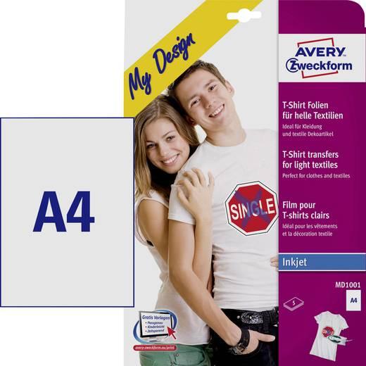 Tintasugaras textilfólia Avery-Zweckform My Design T-Shirt MD1001 DIN A4 Tintasugaras nyomtatóhoz optimálva 5 lap