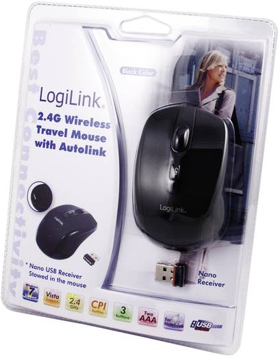 Mini vezeték nélküli USB-s optikai egér, fekete, LogiLink ID0031