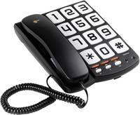 Nagygombos vezetékes telefon időseknek, fekete, Sologic T101 Sologic