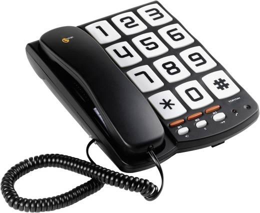 Nagygombos vezetékes telefon időseknek, fekete, Sologic T101