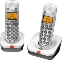 Vezeték nélküli analóg nagygombos telefon időseknek, optikai hívásjelzéssel, ezüst, Audioline BigTel 202 Duo Amplicomms