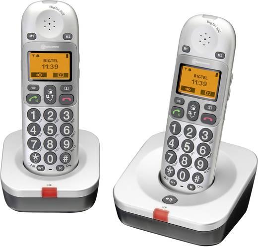 Vezeték nélküli analóg nagygombos telefon időseknek, optikai hívásjelzéssel, ezüst, Audioline BigTel 202 Duo