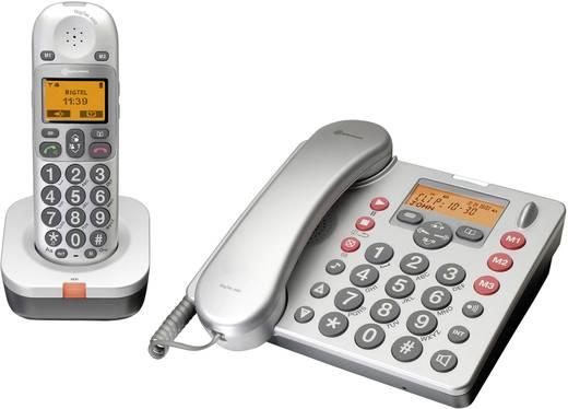 Vezetékes analóg nagygombos telefon időseknek, üzenetrögzítővel, ezüst, Audioline BigTel 480 Duo