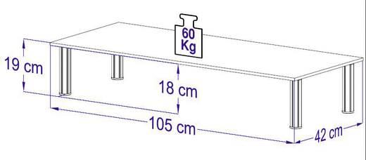 TV szekrény, átlátszó/üveg/alumínium, VCM Morgenthaler Felino-Mini