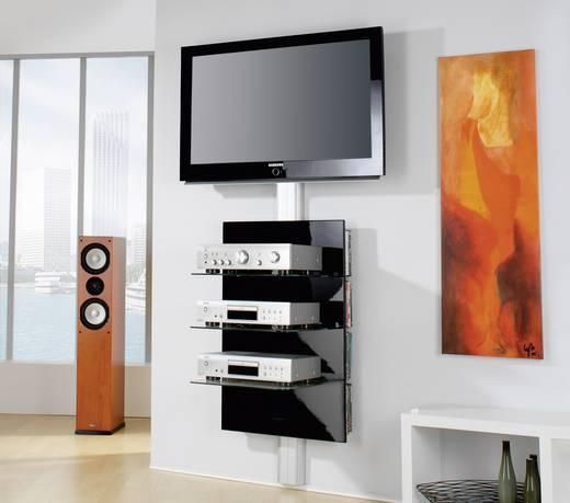 Fali tartó konzol, TV-hez, Hi-Fi berendezésekhez, fehér színű, 3 részes fekete üvegpolcrendszerrel, VCM Xeno-3 19320