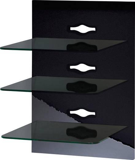 Fali tartó konzol, TV-hez, Hi-Fi berendezésekhez, 3 részes fekete üvegpolcrendszerrel, VCM Xeno-3 19317