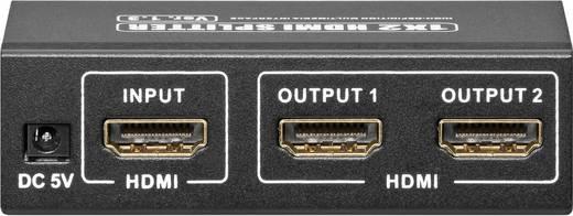 HDMI elosztó, 2 portos, 1 be/2 ki, goobay