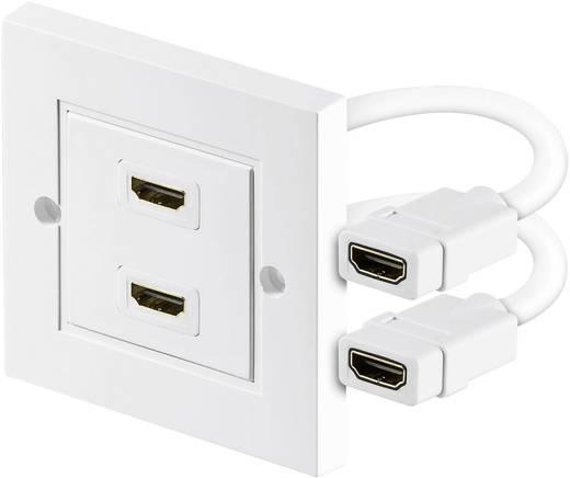 HDMI fali aljzat, 2x HDMI aljzat - 2x HDMI aljzat, fehér, Goobay