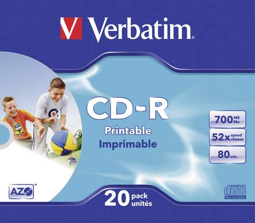 Írható CD-R 80 700 MB Verbatim 43424 20 db Nyomtatható