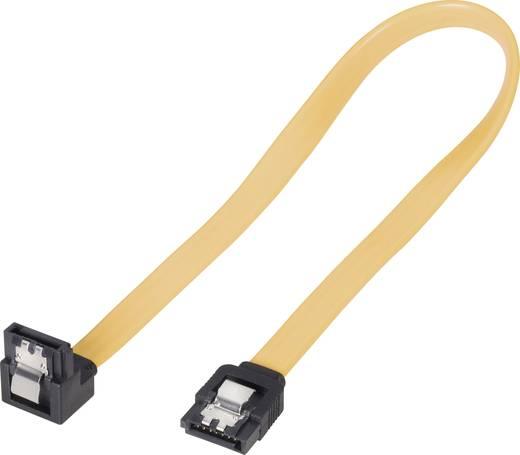 SATA II (300) kábel, L típus, 30 cm, sárga, rövid dugóval, 1-szer hajlított, Bulk