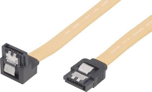 SATA II (300) kábel, L típus, 50 cm, sárga, rövid dugóval, 1-szer hajlított, Bulk