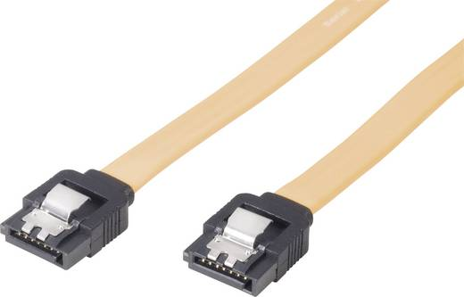 SATA kábel, 1 x SATA aljzat 7 pól. - 1 x SATA aljzat 7 pól., sárga, 0,5m