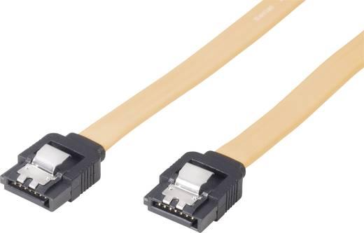 SATA II (300) kábel, L típus, 100 cm, sárga, rövid dugóval, Bulk SATA alj, 7 pólusú SATA alj, 7 pólusú