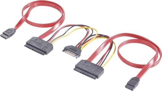 SATA Y kombi kábel, 0,5+0,2 m, piros, Renkforce