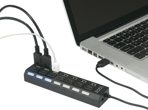 USB 2.0 HUB, elosztó 7 részes, kapcsolóval, LED-es visszajelzéssel Conrad 976193