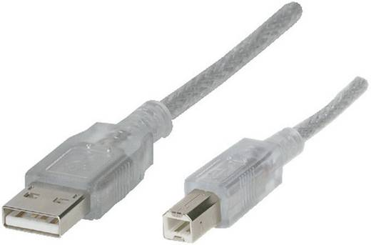 USB 2.0 kábel [1x USB 2.0 dugó A – 1 x USB 2.0 dugó B] 5 m, átlátszó 972317