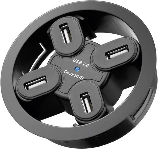 Asztalba építhető USB 2.0 hub, 4 PORT, 80 mm