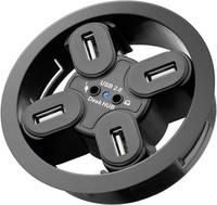 USB 2.0 beépíthető hub, 4 portos, 80 mm + audio hüvelyek (93896) Goobay