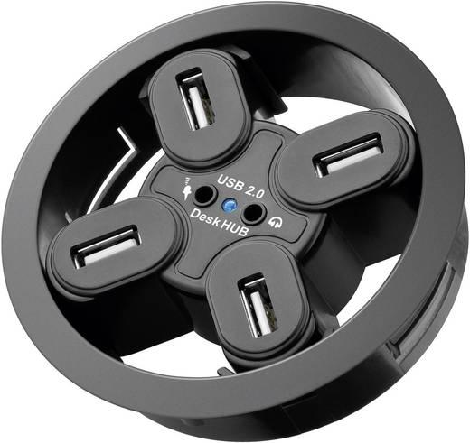 USB 2.0 beépíthető hub, 4 portos, 80 mm + audio hüvelyek